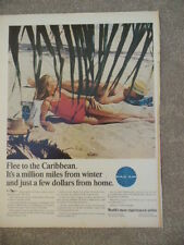 VINTAGE 1965 PAN AM FLEE TO THE CARIBBEAN MAGAZINE AD