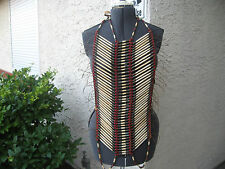 PLAINS AMERICAN INDIAN VTG PIPEBONE/LEATHER SPACER/METAL/GLASS BEADS BREASTPLATE