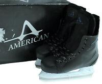 American Ice Force 2.0 Hockey Skate Mens/Youth Size 7 Black Winter Ice Skates