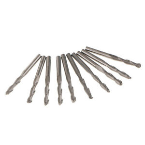 10Pcs 1/8'' 2 Flute 3.175mm CNC Spiral End Mill Bits 17mm Cutting Edge