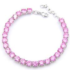 Romantic Lovely Round Pink Topaz Gems Silver Charm Wedding Bracelet For Lady