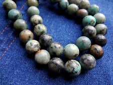 "12mm Genuine Semi Precious African Turquoise Round Gemstone Beads - 15"" Strand"