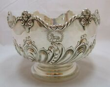 Superb Antique Victorian Sterling silver embossed rose bowl, 1896, 675g