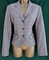 NEXT Uk 14 Grey Checked Fitted Blazer Office Jacket Work Coat w Pocket Detail