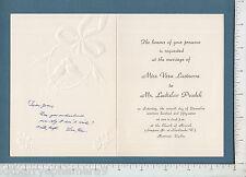 7934 Vera Lacinova & Ladislav Prudek 1957 wedding invitation Montreal, Canada