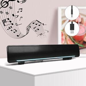 Wired Computer Speaker For PC Laptop Desktop Home TV Soundbar Subwoofer Black