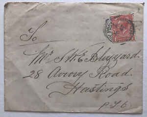 KGV UK 1d  Cover Navy Post Office to Hastings
