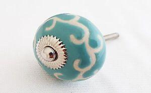 Ceramic ocean blue unique retro embossed 4CM round door knob/pulls/handles