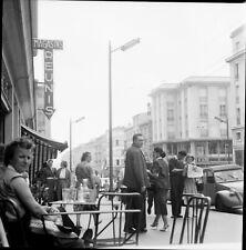 BREST c. 1960 - Terrasse Café Rue de Siam Bretagne - Négatif 6x6 - BRE 161