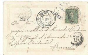 Portuguese MACAU postcard 1906 to Luanda, Angola via Hong Kong, Aden,  Lisbon