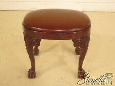 L38849: Chippendale Mahogany Claw Foot Ottoman w Brown Leather Seat ~ NEW