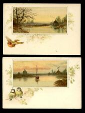 Birds & Countryside x2 French artistic undivided back PPCs Blue Tits & Robin