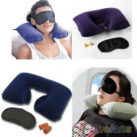 New Inflatable Flight Pillow Neck U Rest Air Cushion+ Eye Mask + Earplug