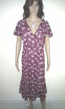 DAVID EMANUEL Dress. Pretty Evening, Informal Wear.  Burgundy. Lined.   SIZE 18