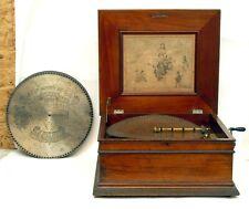 "Regina 15 1/2"" Disc Music Box Mahogany Case With 15 Discs From Estate"