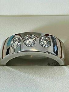 Men's Engagement Wedding Flush Setting 3 Stone Ring 14K White Gold 2.3Ct Diamond