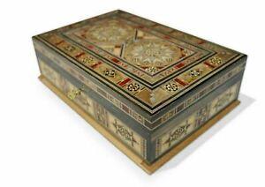 Neu Holz Mosaik Schatulle,Box,Kästchen, abschließbar,Damaskunst K 3020