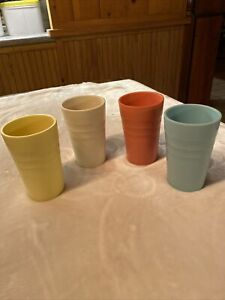 Set Of 4 Mallo-ware melmac tumblers cups glasses - Great Colors