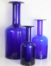"""Set three Blue Holmegaard Gulvase Gul Vase Denmark Otto Brauer 20"""" 14"""" 12"""""""