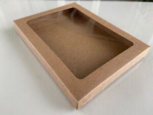 KRAFT GIFT BOXES (2pcs) with Window 11.5x1.5x15cms Food Safe