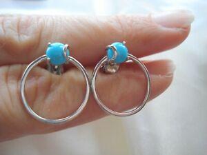 Sleeping Beauty Turquoise Sterling Silver Hoop Earrings