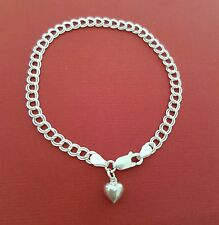 Sterling Silver Heart Bracelet solid 925 charm and chain 8 inch double 4mm links