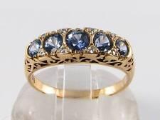 RARE 9CT 9K GOLD CEYLON SAPPHIRE DIAMOND  ETERNITY ART DECO INS RING FREE RESIZE