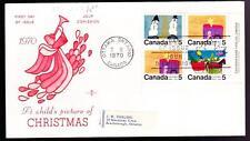 Canada 1970 FDC sc# 520/521/523 Christmas 5¢ LR block, Rosecraft cachet