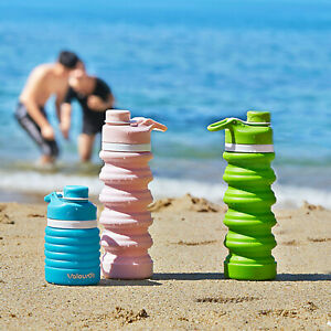 550ml Water Bottle Collapsible Leakproof Silicone - BPA Free Portable Sports Cup