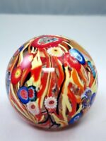 M Design Art Glass Fancy Red & Yellow Abstract Design Paperweight