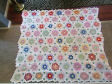 Vtg Grandmother Flower Garden Feed Sack Cotton Grandma Quilt 85x75 Stunning