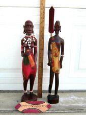 "2 Hand Carved Wood African Figurines Tribal Man & Woman Folk Art 18"" Zulu Tribe!"