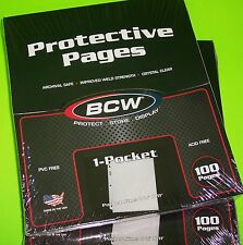 200 PRO 1-POCKET DOCUMENT PAGES, 8-1/2 X 11 POCKET, ARCHIVAL SAFE PAGES, BCW