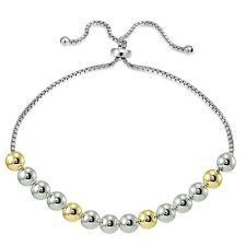 Sterling Silver Two Tone 6mm Bead Adjustable Bracelet