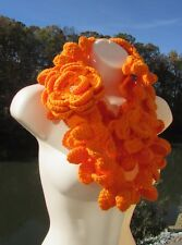 Orange Infinity Shell Scarf handmade Crochet knit