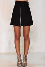 Black Leather Suede A-Line Zip Up Mini Skirt XS Waist 24ins BNWT