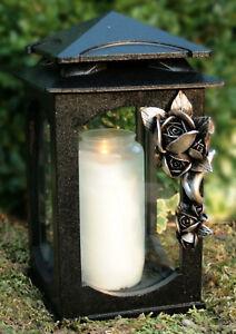 Grablaterne Grablampe Grabschmuck mit Bronze Rose inkl. Grablicht Kerze