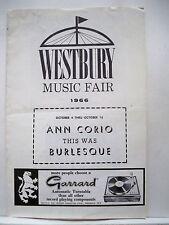 THIS WAS BURLESQUE Playbill ANN CORIO / STEVE MILLS Tour WESTBURY, NY 1966