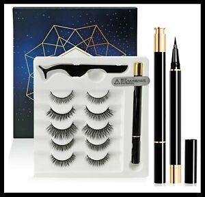 5 Pairs Waterproof Magnetic False Eyelashes Eyeliner Natural Tweezer Long Lashes