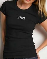 EMPORIO ARMANI WOMENS BLACK T-SHIRT Size S, M - SLIM FIT-