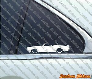 2x Lowered car outline stickers - for 1970 Mercury Cougar Convertible XR7