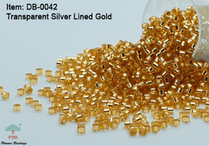 Miyuki Delicas 11/0 Transparent Silver Lined Gold Seed Beads DB-042