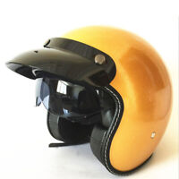 DOT Motorcycle Helmet Open Face Half 3/4 Scooter Helmet Integrated Sun Visor