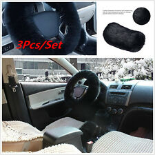 3Pcs Car Steering Wheel Cover Woolen Fur Gear Knob Shifter Parking Brake BLACK