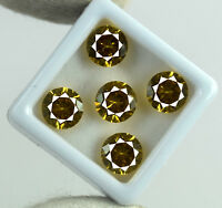 Natural Round Yellow Sapphire Loose Gemstone 12.50 Ct/5 Pcs Lot AGSL Certified