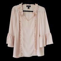 Karl Lagerfeld  Bell Sleeve Ruffle Tie Neck Blouse Blush Romantic women's Large