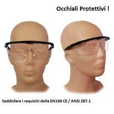 Occhiali Protettivi da Lavoro Plastica Lenti Trasparenti Antiurto EN 166 !!!