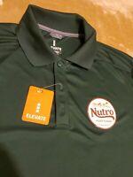 "NEW Mens ELEVATE Nutro ""Feed Clean"" Green Short Sleeve Polo Shirt Size MEDIUM"