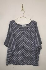Cato Plus Size 26/28 Blue White Striped Dolman Sleeve Knit Sweater Top A30