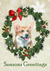 CORGI SEASONS GREETINGS SINGLE DOG GREETING CHRISTMAS CARD